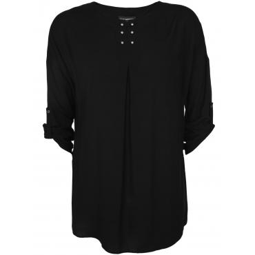 Blusenshirt mit Nieten-Stäben Doris Streich schwarz