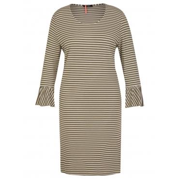 Charmantes Ringel-Kleid mit Volants Frapp khaki