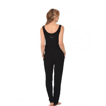 Damen Jump-Suit mit Swarovski® Kristallen Trigema schwarz
