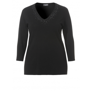 Eleganter Pullover mit Ziersteinchen Via Appia Due SCHWARZ