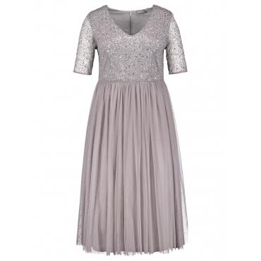 Elegantes Midi-Kleid mit Pailletten Samoon Taupegrau