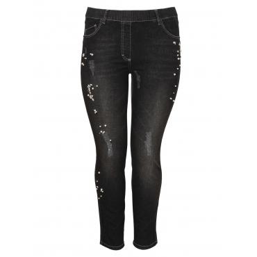 Feminine Jeans mit Perlen Via Appia Due JEANS SCHWARZ