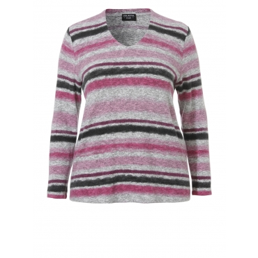 Flauschiger Pullover mit Ringel-Muster Via Appia Due orchidee multicolor | 263