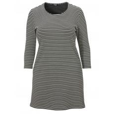 Halblanges Kleid mit feinem Ringel-Muster Frapp grau