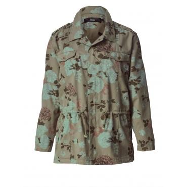 Jacke mit Blumen-Print Zizzi khaki bedruckt