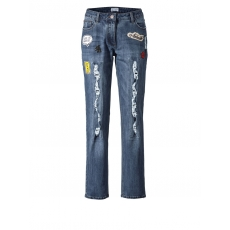 Jeans mit Destroy-Effekten und Patches Angel of Style blue stone