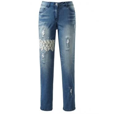 Jeans mit Spitze und Perlen im Destroyed-Look Angel of Style blue stone