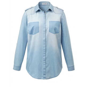 Jeansbluse Angel of Style blue bleached