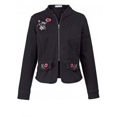 Jeansjacke mit Blumen-Stickerei Angel of Style black denim