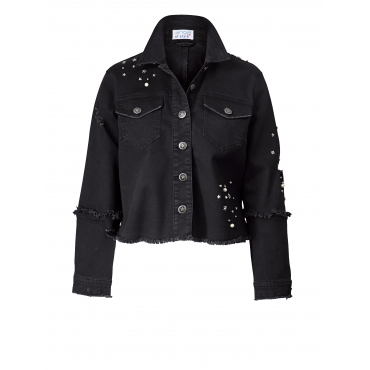 Jeansjacke mit Perlen und Nieten Angel of Style Schwarz