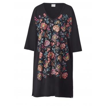 Jersey-Kleid mit Blumen-Print Junarose Schwarz