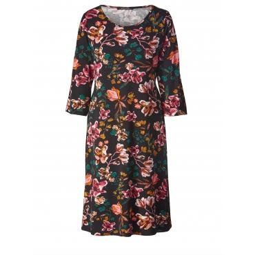Jersey-Kleid mit Blumen-Print Sara Lindholm Multicolor