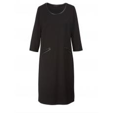 Jersey-Kleid mit Lederimitat Sara Lindholm schwarz