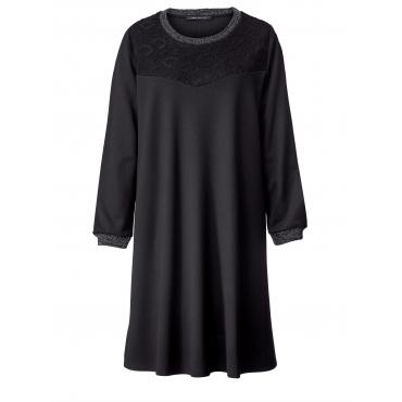Jersey-Kleid mit Spitze Sara Lindholm Schwarz