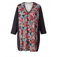 Jersey-Tunika mit Allover-Print Gozzip schwarz-rot
