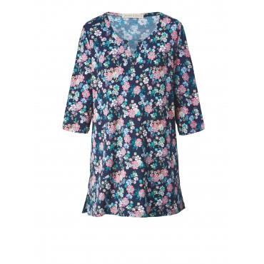 Jersey-Tunika mit Blumen-Print Janet & Joyce Blau