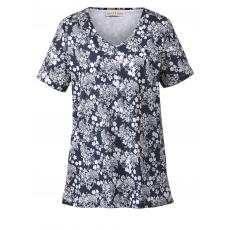 Jersey-Tunika mit Flower-Print Janet & Joyce marine/weiß