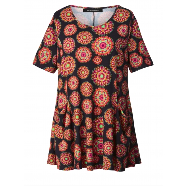 Jersey-Tunika mit Ornament-Print Sara Lindholm Multicolor