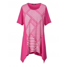 Jersey-Tunika mit Zipfelsaum Sara Lindholm pink/weiß