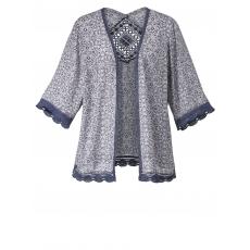 Kimono mit Spitze Sara Lindholm gemustert