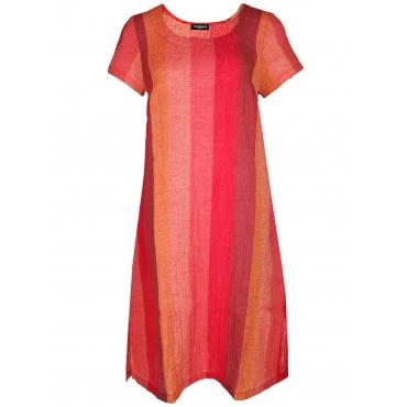 Kleid DALERMO Leinen Streifen midi Sammer Berlin rot/orange