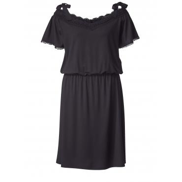 Kleid mit Carmen-Ausschnitt und Spitze Sara Lindholm Schwarz