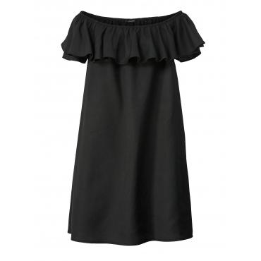 Kleid mit Carmen-Ausschnitt und Volant Sara Lindholm Schwarz