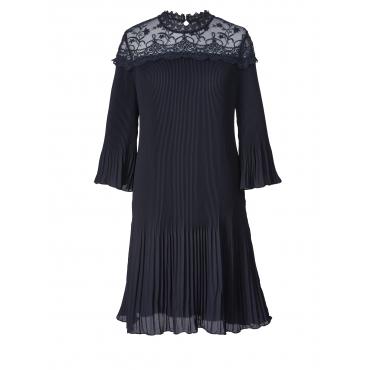 Kleid mit Plissee und Spitze Sara Lindholm Schwarz
