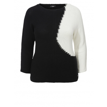 "Kontrast-Pullover ""Black-and-White"" Frapp black"