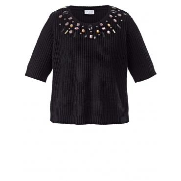 Kurz-Pullover mit Schmucksteinen Angel of Style schwarz
