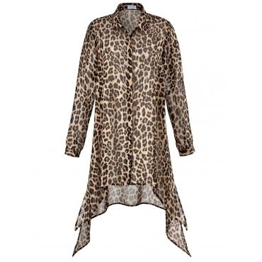Lange Chiffon-Bluse mit Leo-Print Angel of Style gemustert