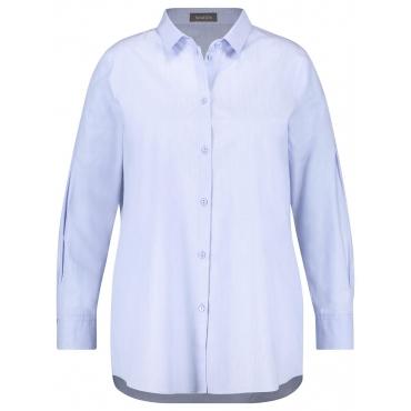 Lange Hemdbluse aus Baumwolle Samoon Ballad Blue Melange
