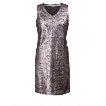 Lederimitat-Kleid in Etuiform Sara Lindholm silber