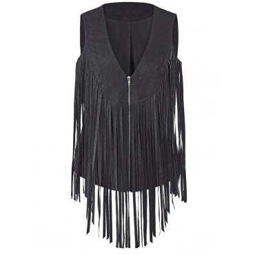 Lederimitat-Weste mit Fransen Angel of Style schwarz