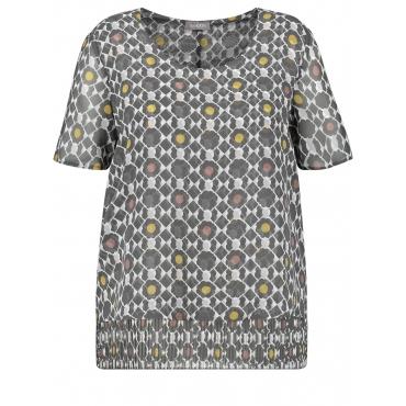 Legere Bluse mit plissiertem Saum Samoon Pavement Druck
