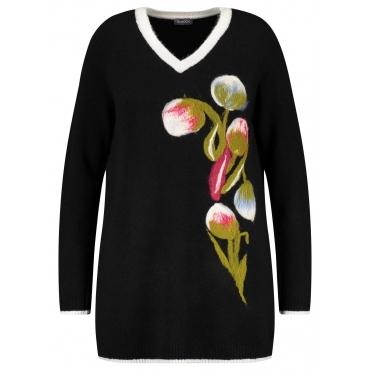 Long-Pullover mit Blumen-Dessin Samoon Black gemustert