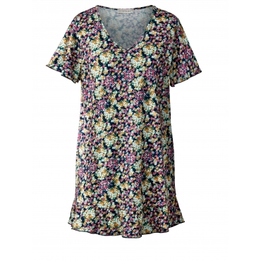 Long-Shirt mit Blumen-Print Janet & Joyce Blau