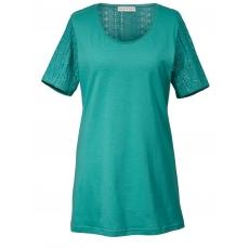 Long-Shirt mit Häkelspitze Janet & Joyce smaragd