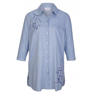 Longbluse MIAMODA Blau::Weiß