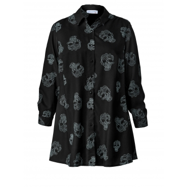 Longbluse mit Allover-Print Angel of Style Schwarz