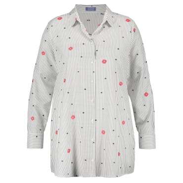 Longbluse mit Muster-Mix Samoon Offwhite gemustert