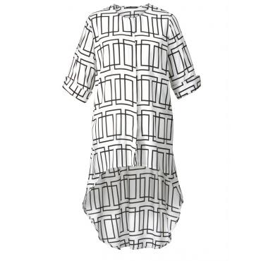Longbluse Vokuhila mit grafischem Muster Sara Lindholm weiß/schwarz