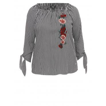 Luftiges Blusen-Shirt mit Ärmelschnürung Frapp off white / black