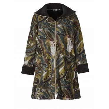 Mantel mit Allover-Print und Fellimitat Gozzip Khaki::Schwarz