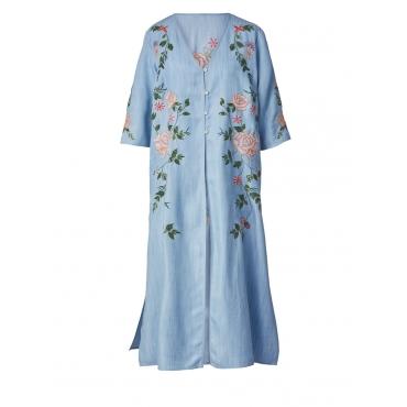 Mantel mit Stickerei und Pailletten Sara Lindholm light-blue