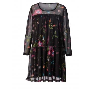 Mesh-Kleid mit Blumen-Print Sara Lindholm Schwarz