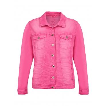 Moderne Jeans-Jacke mit figurformenden Nähten Via Appia Due pink