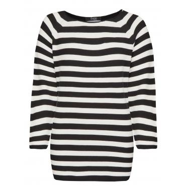 Moderner Pullover mit Streifen Frapp black / off white