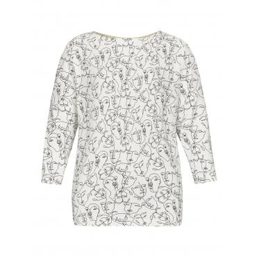 Modisch mit einem Hauch Extravaganz bringt diese Bluse frischen Wind in Ihren Kleiderschrank! Feinst Frapp Off White/Black