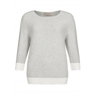 Modischer Pullover mit Kontrast-Säumen Via Appia hellgrau meliert/ ecru